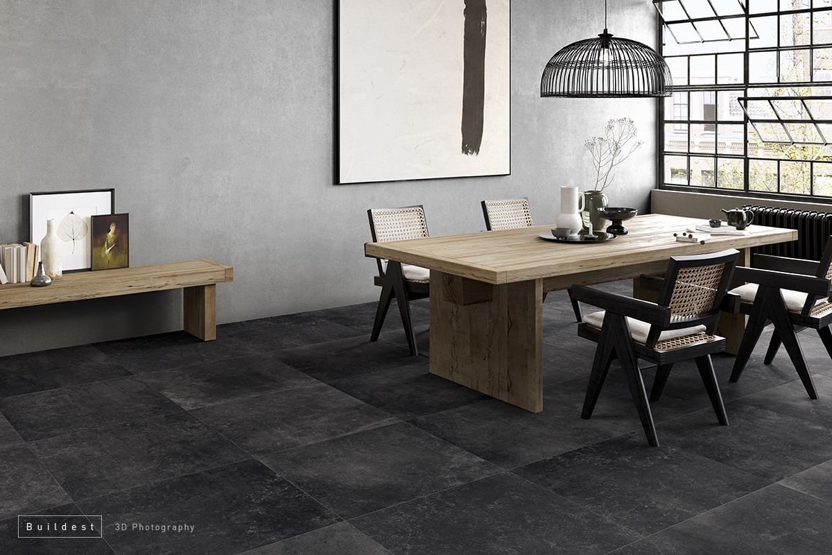 Buildest_grey dining set_3d_rendering_modena